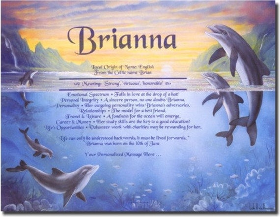 Items Similar To Personalized First Name Meaning Dolphin Cove Art Print On Etsy