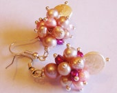Coin pearl, freshwater pearls in shades of pink gemstone cluster earrings