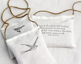 Hope Is Organic Rose Sachets Sympathy Gift Emily Dickenson Bookish Literary Quote