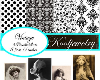 Digital Paper Pack for invites, card, scrapbooking, tags - Damask and Vintage - No.11