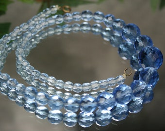 Vintage Faceted Blue Glass Beaded Necklace