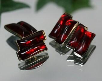 Cufflinks- Vintage Silvertone Metal and Red Glass Cufflinks