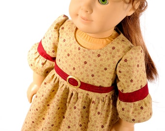 "18"" inch doll clothing, American Girl doll clothes, Colonial, day dress, historical, gown, Civil War reproduction fabric, PattiKuz, tan, red"