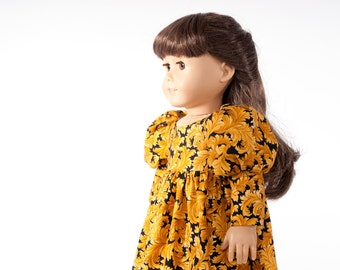"American Girl doll clothes, 18"" inch regency party dress, gold, black, reproduction fabric, historical clothing, autumn fall fashions"