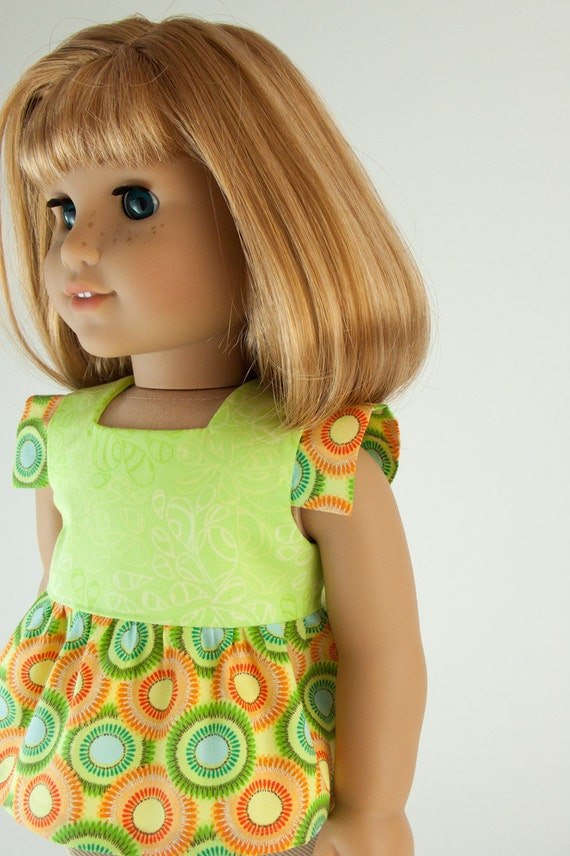 """American Girl Doll Shirt 18"""" Inch Doll Clothes Tunic Top in Orange and Lime Green by PattiKuz"""