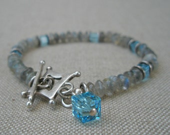 Gray and Blue Mixed Bracelet