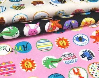 2359 -- Sale, Kawaii Animals Circle Fabric, Lion, Zebra, Elephant,  Giraffe , Crocodile, Rabbit