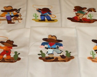 Rootin Tootin Cowboys Machine Embroidered Quilt Blocks Set