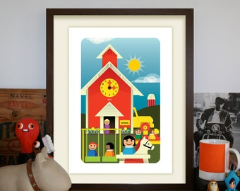 Vintage Fisher Price Schoolhouse Artprint (Third Edition)