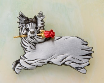B429 Yorkie Dog Pewter Pin  /  Pendant with a Red Rose