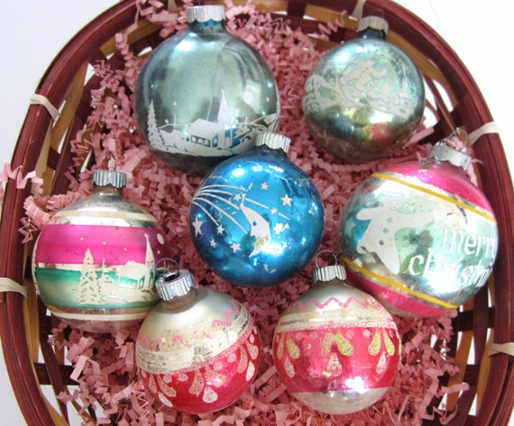 Lucky 7 Vintage Christmas Ornaments Mercury Glass