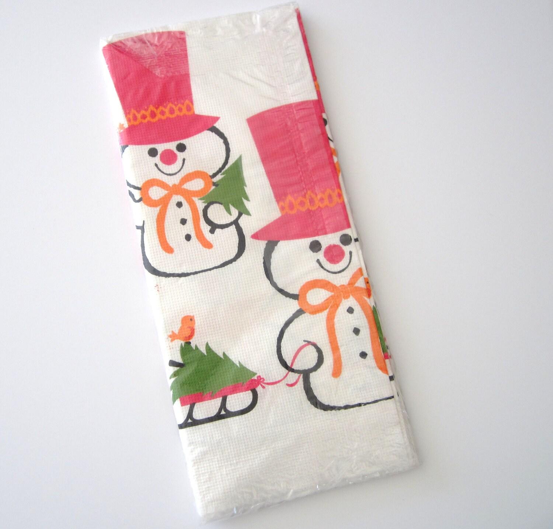 Vintage Paper Tablecloth Snowman Hallmark