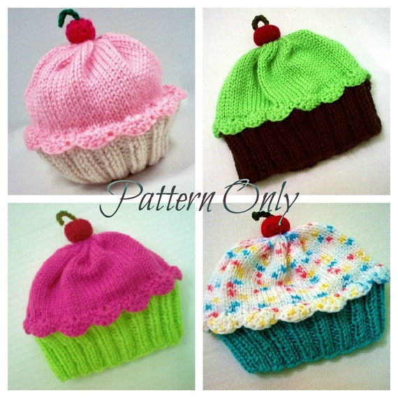 Knitting Pattern Cupcake Hat PDF INSTANT DOWNLOAD Cherry on Top diy Preemie Toddler Child Kids Adult sizes