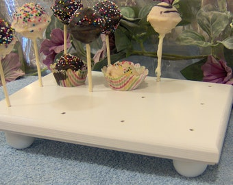 White cake pop stand 12 solid wood made in the USA