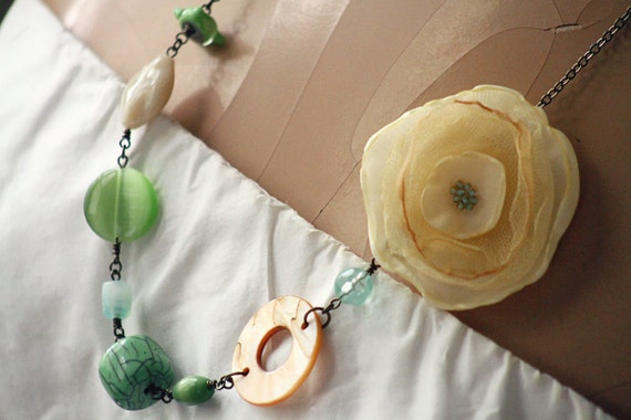 pale green, ivory and sand - an earthy handmade mixed media necklace