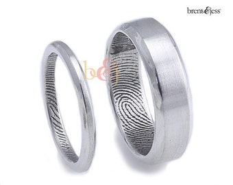 2.5mm/6mm Set, Sterling Silver Custom Fingerprint Wedding rings or Commitment Bands with Beveled Outside Edge
