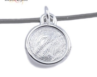 Sterling Silver Round Custom Fingerprint Pendant or Charm