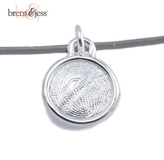Sterling Silver Round Custom Fingerprint Pendant or Charm