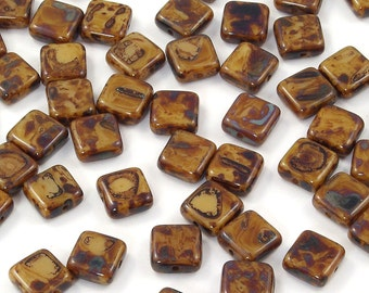 Czech Glass Brown Coffee Picasso Square Tile Beads 9mm - 25