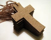 Plantable Seed Paper Christian Christmas Ornaments - Christening Favors - Seeded Cross Gift Tags