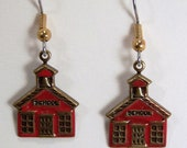 Hand Painted Teacher Earrings, Red School House,  Brass Charm, Teacher Jewelry Gift