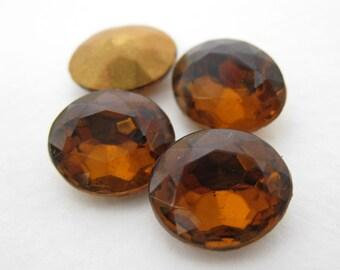 Vintage Rhinestone Glass Jewel Smoked Topaz Oval Czech 12x10mm rhs0318 (4)