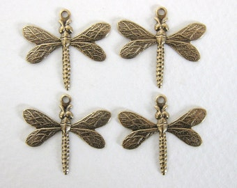 Antiqued Brass Ox Dragonfly Charm Pendant Drop 20mm drp0034 (4)