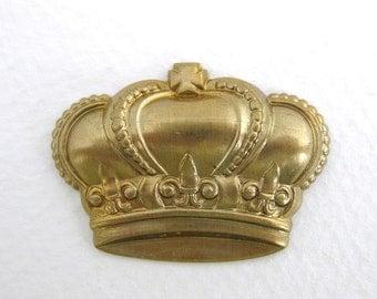 Vintage Brass Stamping Royal Crown Fleur De Lis 34mm stp0051 (2)