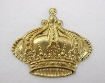 Vintage Brass Stamping Royal Crown Finding 37mm stp0048 (2)