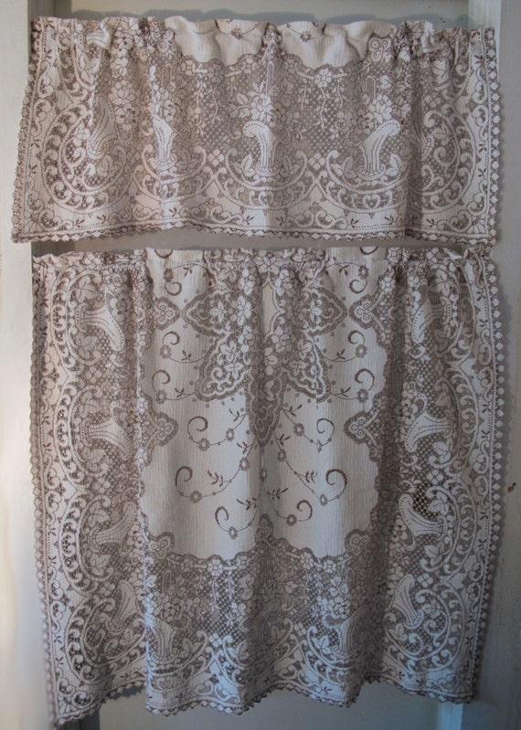 Brown Basket Lace Curtains, 36 inch long cafe drape, Cotton Lace ...