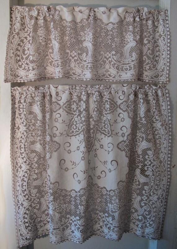 Brown Basket Lace Curtains 36 Inch Long Cafe Drape Cotton