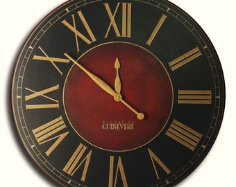Large Wall Clock 24in CHURCHILL Fox Gallery Antique Style Big Round Clocks FREE INSCRIPTION