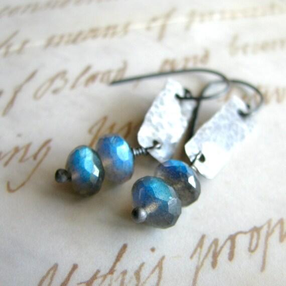 Labradorite earrings, sterling silver and gemstones, blue flash rustic - Beacons
