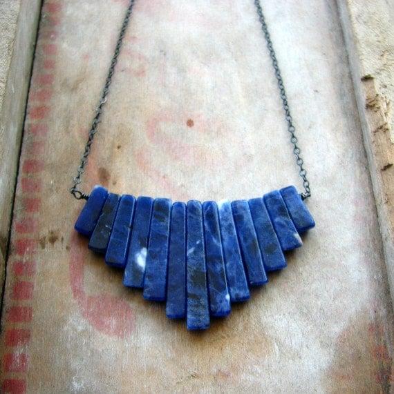 Lapis lazuli, tribal necklace, sterling silver necklace, fan shape, geometric, stone spikes, rustic, oxidized ocean blue - Lapis Wave