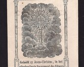 SALE Antique Booklet year 1717 Holy Card Booklet. Beautiful Monstrance Eucharistic picture. Almost 300 years old. OFFERS CONSIDERED.
