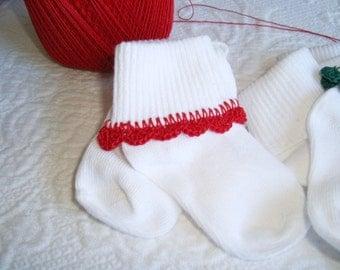 Red hand crocheted baby socks