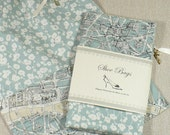 Shoe Bags, Travel, Paris Map, Duck Egg Blue, Drawstring, Set of 2