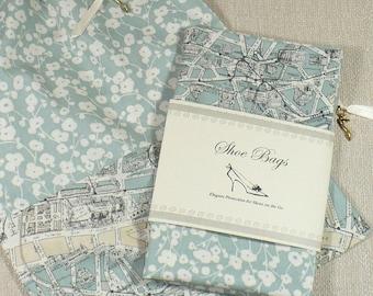Shoe Bags, Travel, Paris Map, Duck Egg Blue, Drawstring, Set of 2