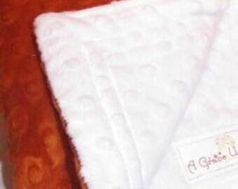 Burnt orange and white minky dot baby blanket