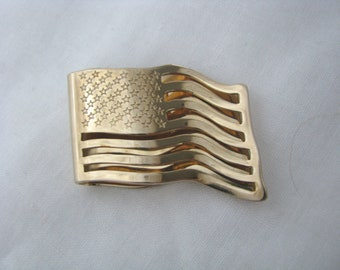 Vintage Gold Tone Flag Shaped Money Clip Money Holder by Avon