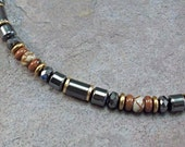 Hematite Necklace for Men with Picasso Jasper and Mahogany Obsidian Gemstones