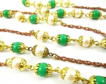 Vintage Beaded Chain with Brass Bead Caps - CN27 - 2 Feet