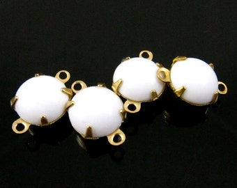 4 - Vintage Glass Round Stones in 2 Rings Closed Back Brass Prong Setting Chalk White - 9mm