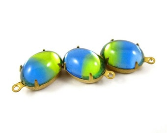 4 - VIntage 14x10mm Oval Set Stones 1 Loop Earring Drops Brass Prong Settings Blue and Green