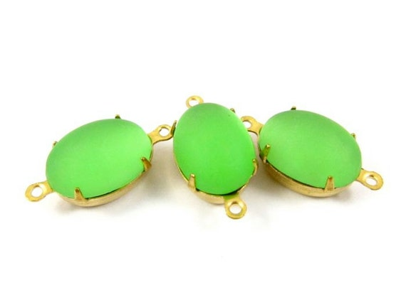 4 - Vintage Frosted Peridot Oval Glowing Set Stones 2 Rings Connectors Brass Prong Settings 14x10mm