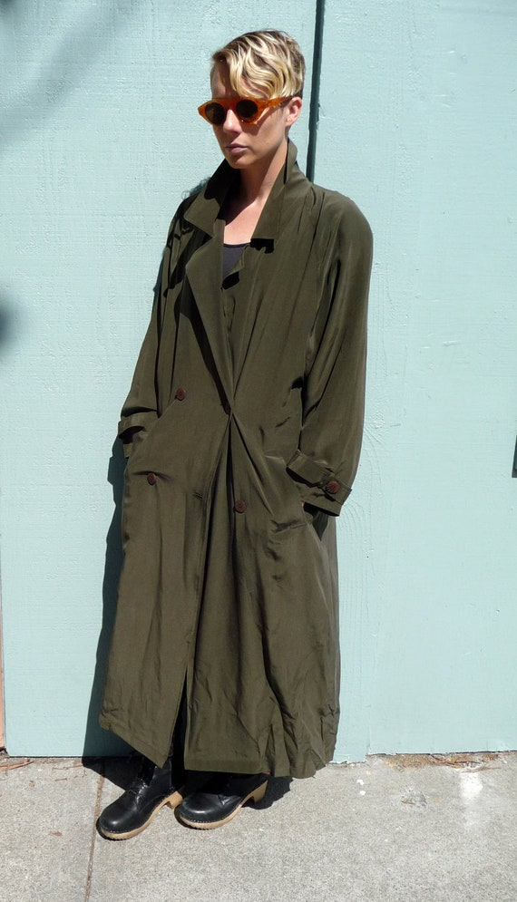 Reserved 80s Green Silk Trench Coat