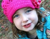 Sale Shocking Pink Patchwork Slouchy Brimmed Crochet Hat with Pink Flower Clip size 4-6 years