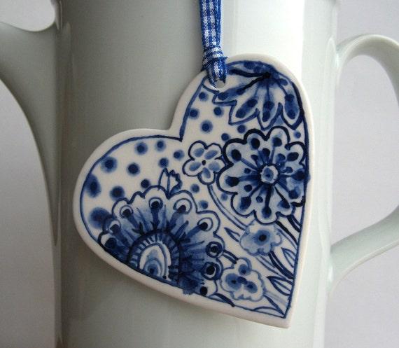 Porcelain  Heart -  Blue and white Delftware porcelain wall hanging/ornament