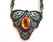 Victorian Filigree Necklace, Antique Costume Jewelry, Statement Necklace, Topez Amber Golden