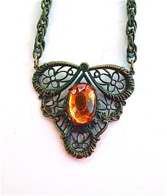 Victorian Filigree Necklace Antique Costume Jewelry
